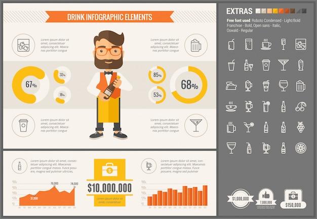 음료 평면 디자인 infographic 템플릿
