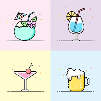 Drink icon collection in pastel color