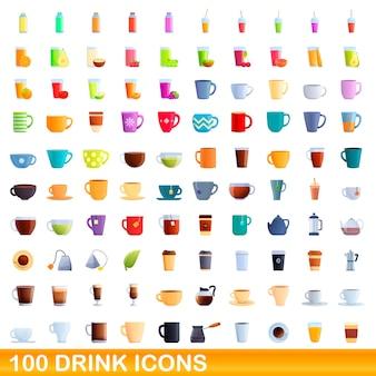 Набор иконок пить. карикатура иллюстрации иконок напитков на белом фоне