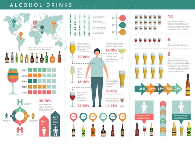 Drink infographic. glass and alcohol drinks bottles business world info about drinking people  template