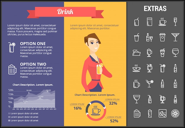 Drink infographic template, elements and icons
