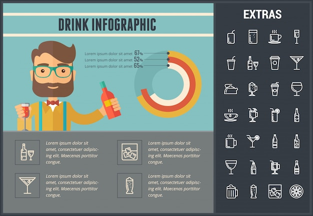 Drink infographic template, elements and icons.