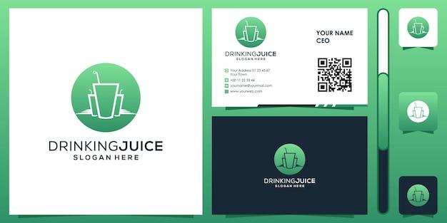 Пить сок логотип с вектором дизайна визитной карточки премиум