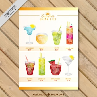 Drink list with variety of watercolor cocktails
