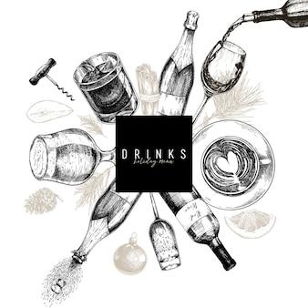 Шаблон меню напитка. рука нарисованные алкогольные напитки.