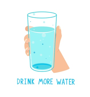 Drink more water,calling banner with glass full of water