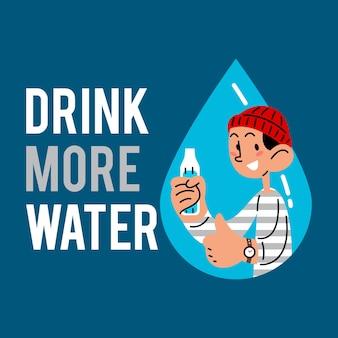 Пейте больше воды мужчина держит бутылку с водой векторные иллюстрации