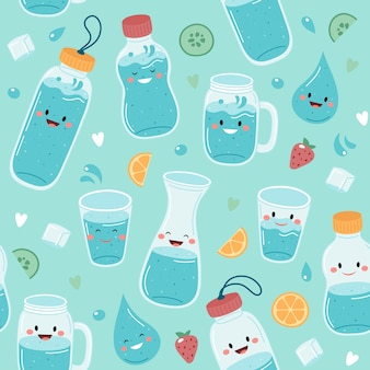 Пейте больше воды. бесшовный фон с милыми бутылками и стаканами