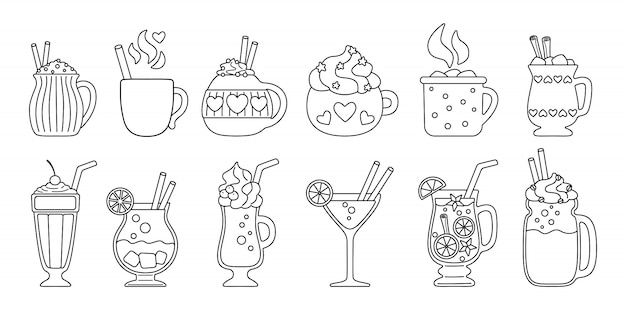 Drink summer flat line set. black linear cartoon beverages hot and fresh. cute mugs cocoa, coffee milk, cream and mulled wine, alcohol. party drinks decorated candy, marshmallow. illustration