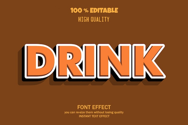 Drink text, editable font effect