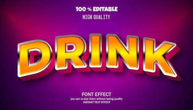음료 텍스트 효과, 편집 가능한 글꼴