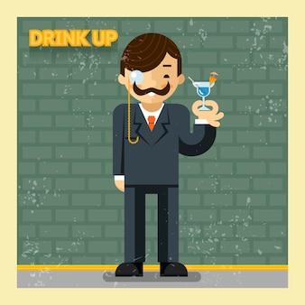 개념을 마셔 라. 칵테일 알코올, 밝고 미소, 여가