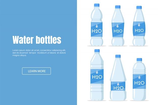 Пейте воду в пластиковой бутылке на белом фоне веб-дизайна. h2o сайт по продаже или доставке воды.