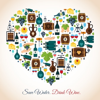 Drink wine save water decorative icons heart vector illustration