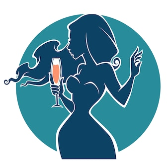 Drink with me,vector commercial background with images of drink and girl silhouette