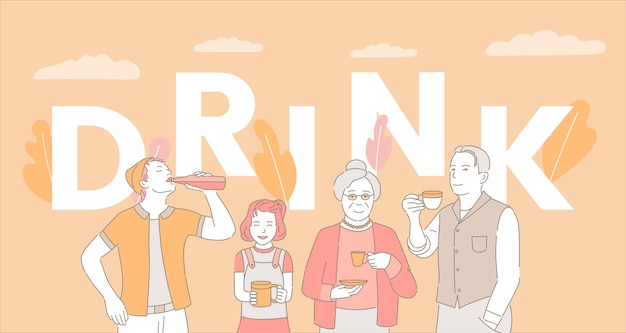 Drink word concept banner template. people drinking coffee, tea and soda.