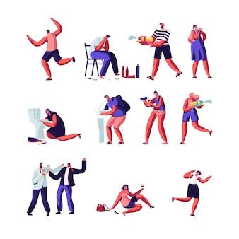 술꾼과 물 총 세트를 가지고 노는 사람들. 알코올 중독 캐릭터, 술에 취한 남성과 여성이 바닥에 누워, 토하고, 더운 여름철 시즌 날씨 게임.