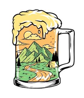 山の図にビールを飲む