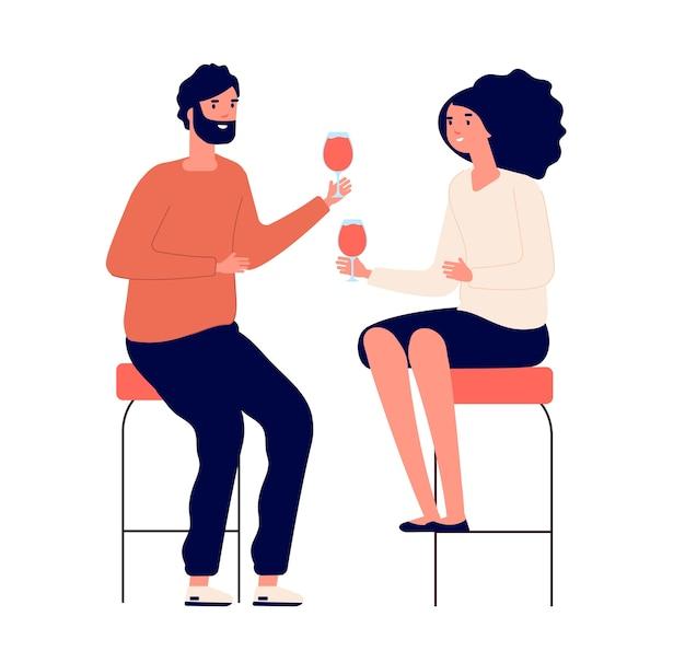 飲酒カップル。男性と女性はワインを飲み、パブで乾杯します。ロマンチックな日付の漫画のコンセプト。カップルの愛のお祝いとワインのイラスト
