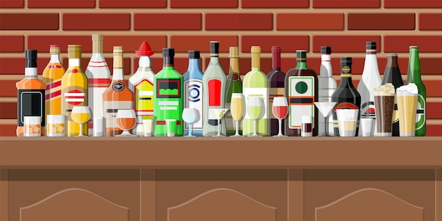 フラットスタイルの酒場イラスト
