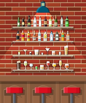 Drinking establishment. interior of pub, cafe or bar. bar counter, chairs and shelves with alcohol bottles. glasses, lamp. wooden and brick decor.
