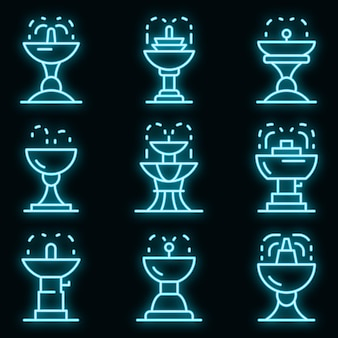 Drinking fountain icons set. outline set of drinking fountain vector icons neon color on black