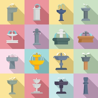 Drinking fountain icons set