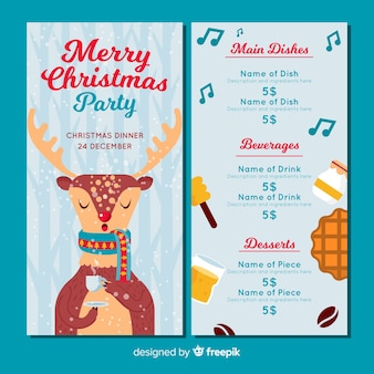 Drinking reindeer menu template