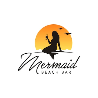 Drinking silhouette mermaid for beach bar logo design