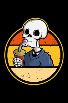 Питьевой череп иллюстрации ретро винтаж