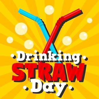 Drinking straw day background