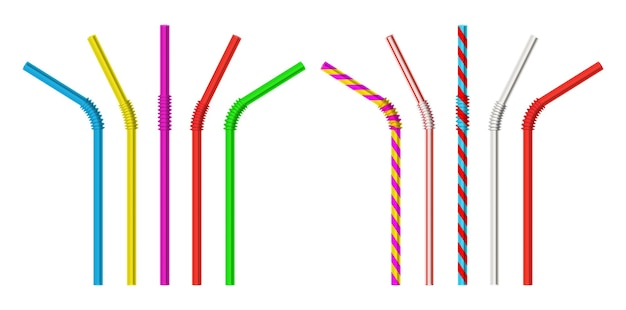 ストロー。現実的な古典的なプラスチックの縞模様とカラフルな直接および曲がったストロー分離オブジェクト3dベクトルイラストセット。カクテルやジュース用のリアルなパイプストローベンド