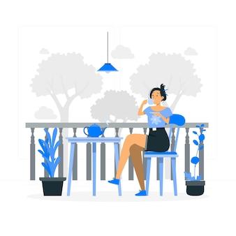 Пить чай концепции иллюстрации