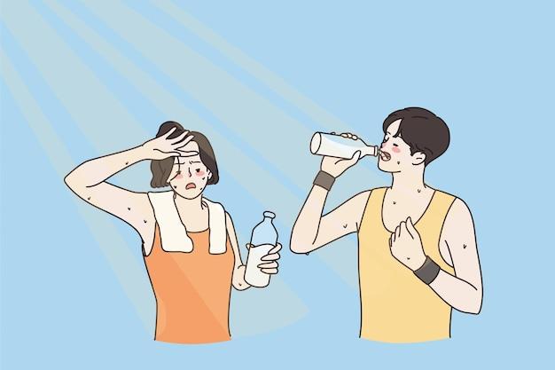 식수와 더운 여름 개념
