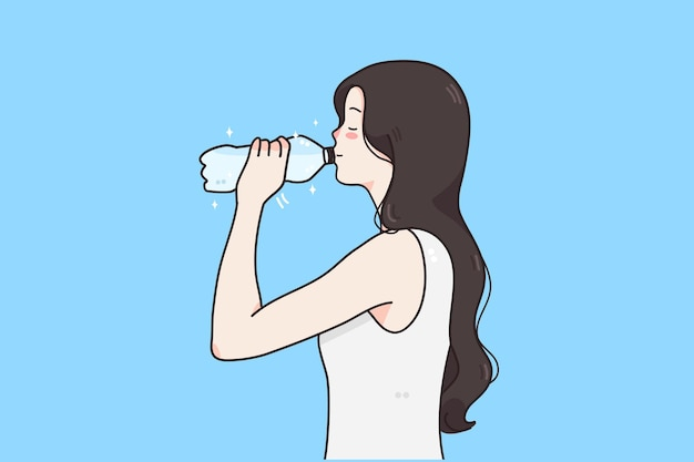 Drinking water and healthy lifestyle concept