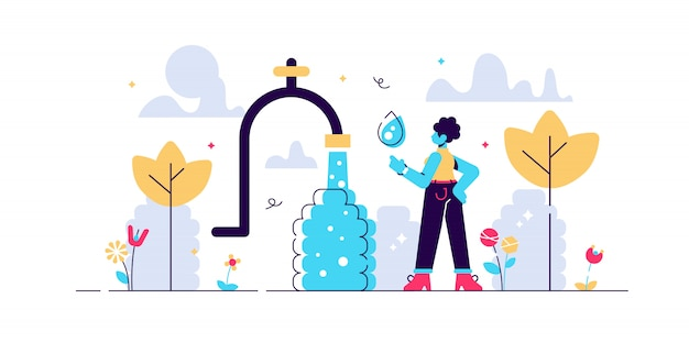 Drinking water illustration. flat tiny africa potable problem person concept. lack of running safe and healthy mineral liquid in hot dry dessert. essential need for fresh, clean and clear h2o.