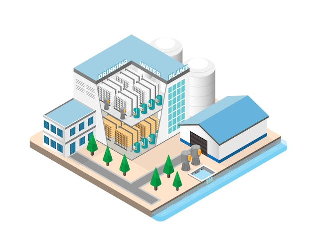 Drinking water purification plants in isometric graphic