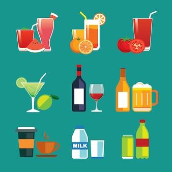 飲み物と飲み物のフラットなデザインアイコンを設定
