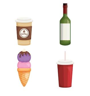ドリンク、飲み物、アイコン、ベクトル、イラスト、デザイン