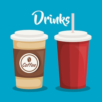 Drinks beverage set icons vector illustration design