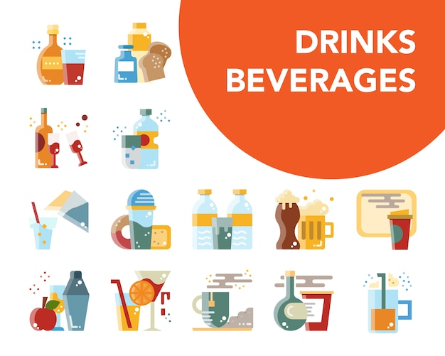 Drinks and beverages cartoon flat design