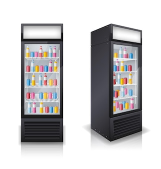 음료 폐쇄 냉장고 세트