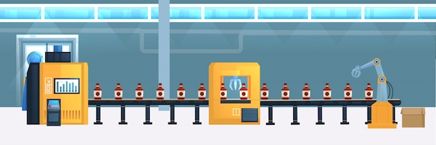 Drinks conveyor belt flat illustration