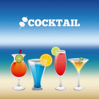 Drinks design over blur background vector illustration