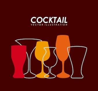 Drinks design over red background vector illustration
