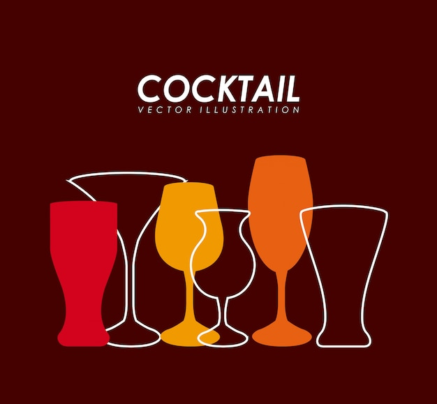 Drinks design over red background vector illustration