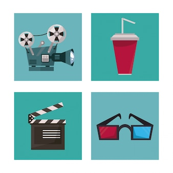 Drinks glasses 3d clapperboard and movie projector