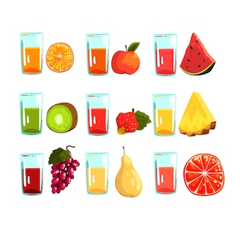 Drinks for a healthy diet illustrations isolated on a white background