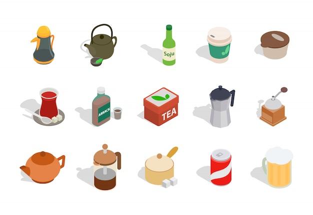 Drinks icon set on white background