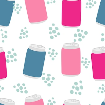 Drinks and lemonade fruit soda drink in a bottle seamless pattern with aluminum cans and drops